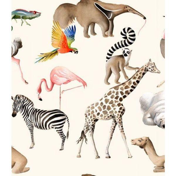 Kinder-Dekostoff mit exotischen Tieren