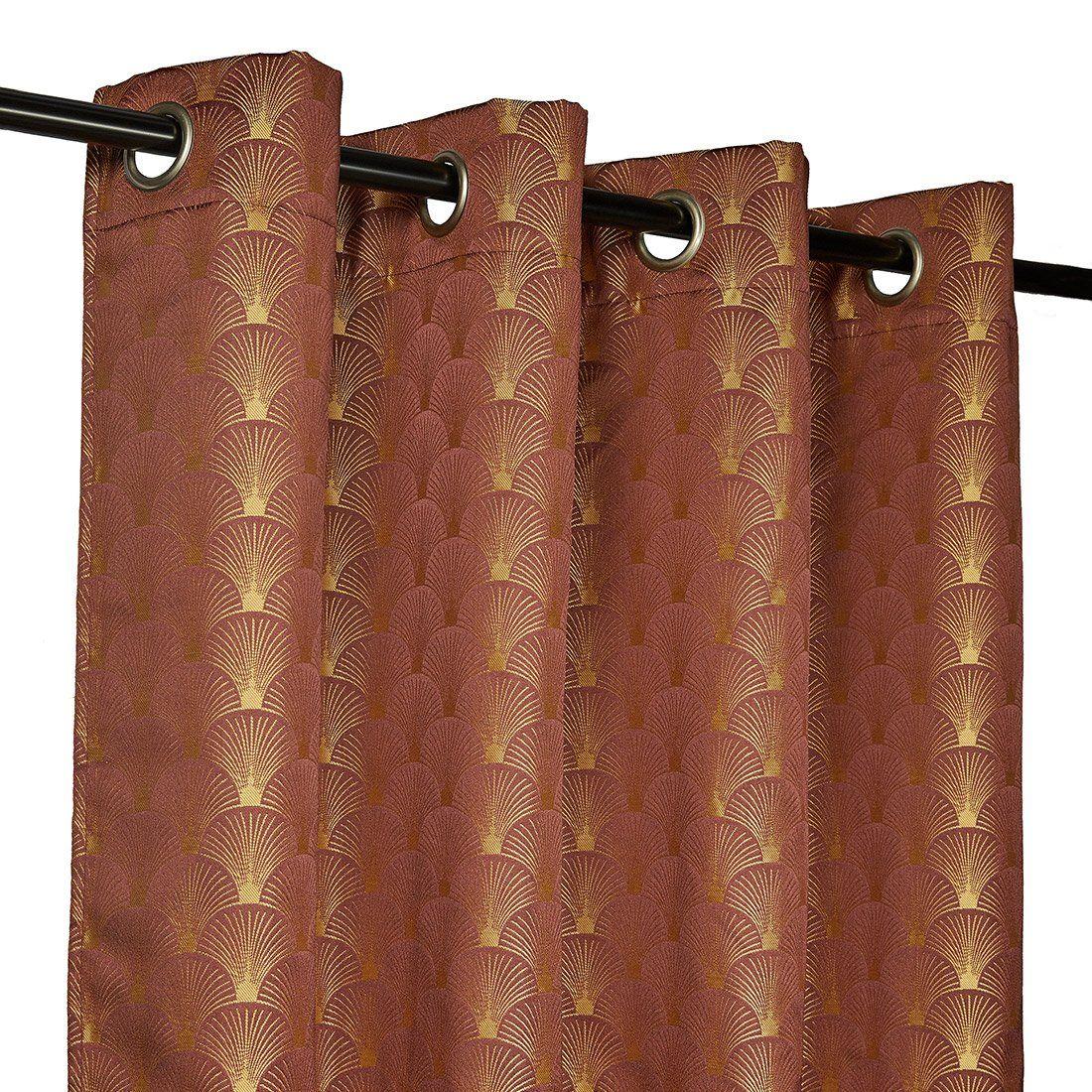 Ösenvorhang in Weinrot und Gold