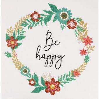"""Textiltransfer zum Aufbügeln """"Be Happy"""" 18 cm"""