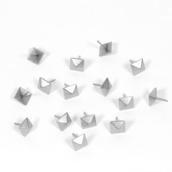 Quadratische Polsternägel mit silbernem Carré, Ø 12 mm