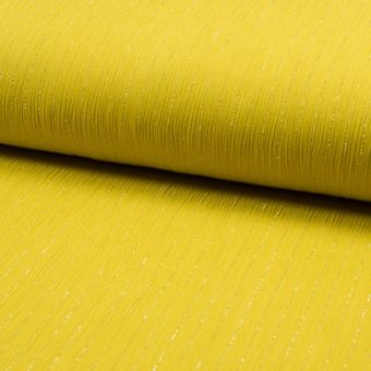 Crepe Stoff Viskose Lurex Streifen Gelb