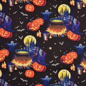 Baumwollstoff Halloween Kürbise