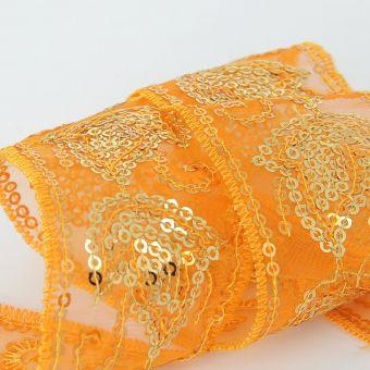 Mesh Band mit glänzende Blätter 45 mm orange