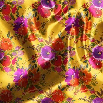 Satinstoff Blumenstrauß Gelb