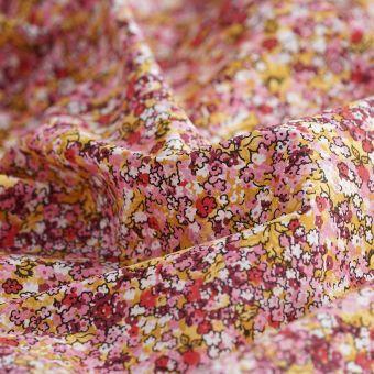 Perkal-Baumwollstoff Bio Blumen rot