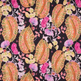 Crepestoff Polyester Meeresflora-Muster orange rosa