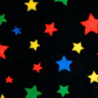Fleecestoff schwarz bunt Stern
