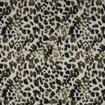 Polyamid/Yoga-Jersey-Stoff mit Leopardenmuster auf ecrufarbenem Hintergrund