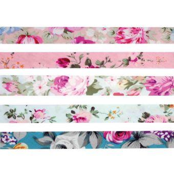 5 Schrägbänder aus Baumwolle 1cm x 1m Blumen pastell