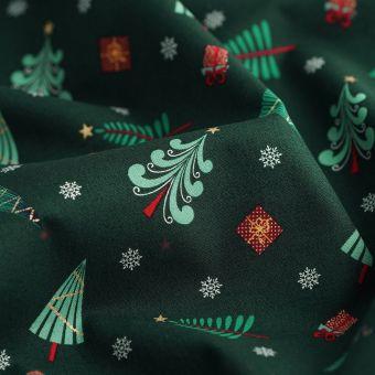 Weihnachten Cretonne Stoff kleine Bäume