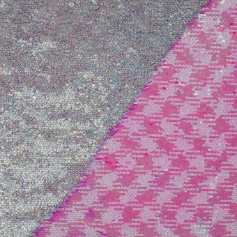 Wendbarer Paillettenstoff silberfarben rosa