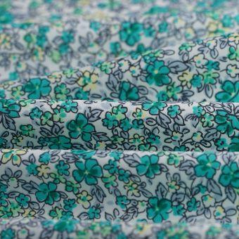Popeline Baumwolle Blumen blau