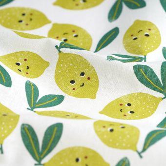 Cretonne Weiß Zitronen