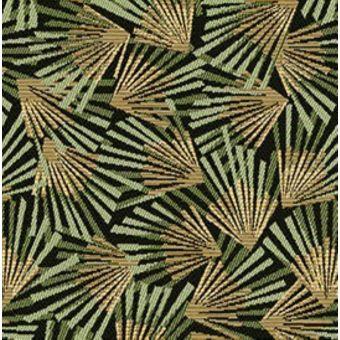 Jacquardstoff grün goldfarben Palmen gamma