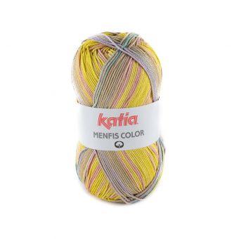 Strickgarn Katia Menfis Color Grün Gelb