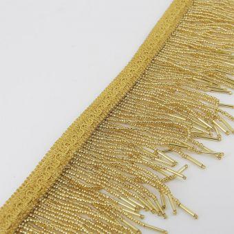 Perlenfransen Band Wellen 95 mm goldfarben