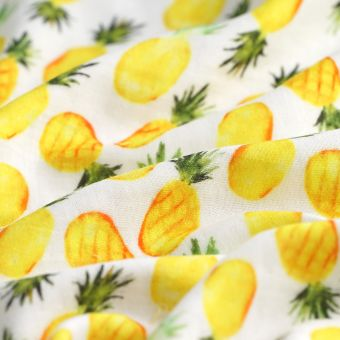 Dreifach-Gaze Bio Ananas Gelb