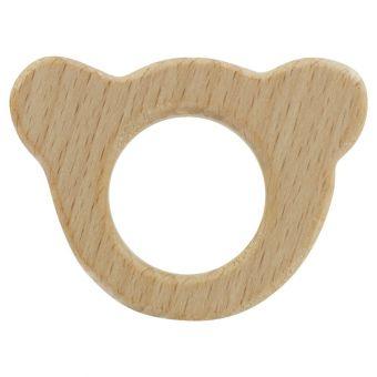 Beißring aus Holz Bär