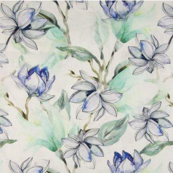 Leinenstoff Blumen grün blau