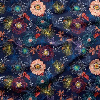 Dreifach-Gaze Bio Baumwolle Blau Blumen