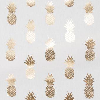Dicker Baumwollstoff Ananas-Muster goldfarben