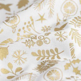 Dicker Baumwollstoff Weihnachten goldfarben