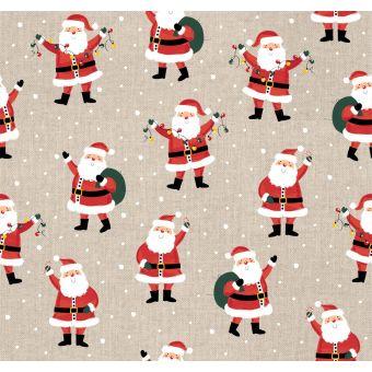 Dicker Dekostoff Weihnachtsmann/Geschenke