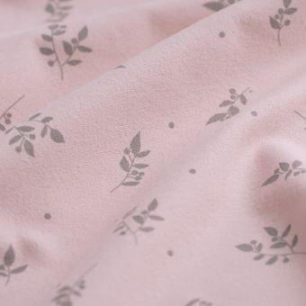 Flanellstoff bio rosa Blumen