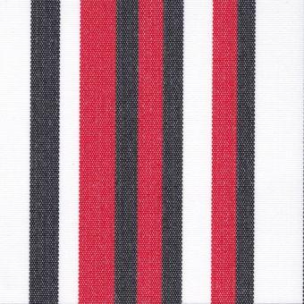 Outdoorstoff mit Teflonbehandlung, schwarz rot weiß gestreift