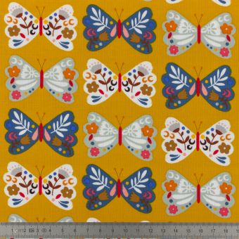 Kord Samtstoff Dashwood Schmetterlinge gelb