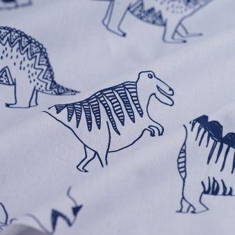 Lakenstoff Dinosaurier Weiß