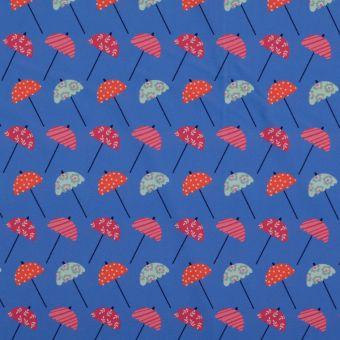 Stoff für Bademode Blau Regenschirme