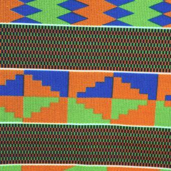Orange, grün und blau gestreifter Kentestoff - Karabashop