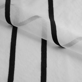 Gardinenstoff durchsichtig weiß Streifen schwarz