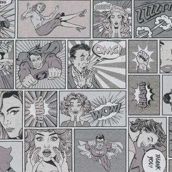 Jacquardstoff Comics schwarz