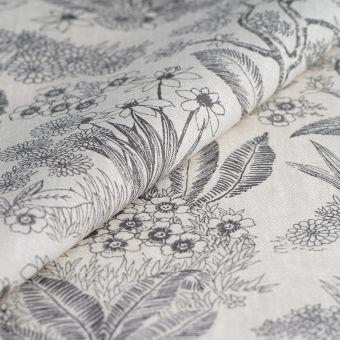 Beschichteter Tischdeckenstoff Grau Blumen