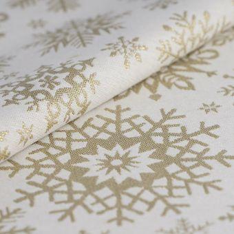Weihnachtsstoff Jacquard Flocken Gold