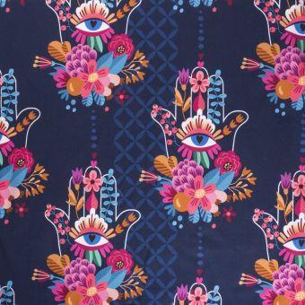 Sweatshirtstoff French Terry Bio Choose Love Blau - Albstoffe