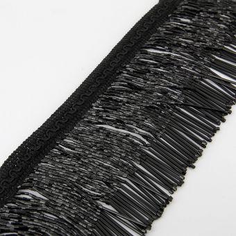 Perlenfransen Band schwarz 100 mm