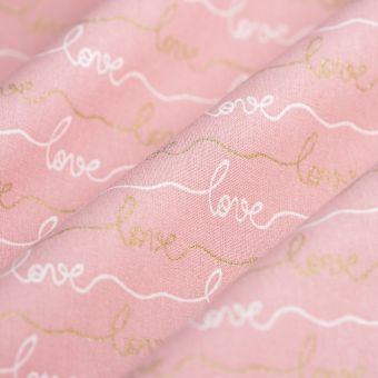 Cretonne Baumwolle Much love rosa