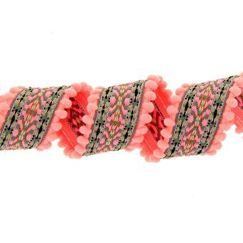 Borte mit Pompons corail - 40mm
