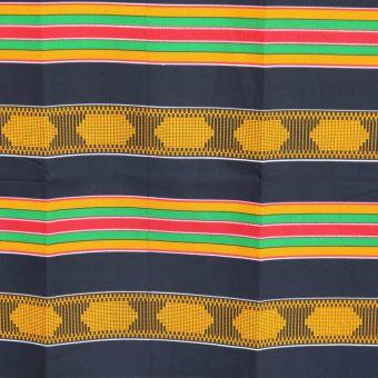 Blau, grün, gelb und senfgelb gestreifter Kente-Stoff - Karabashop