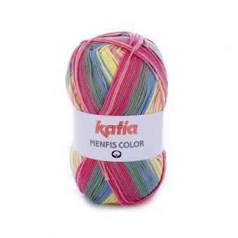 Strickgarn Katia Menfis Color Rosa Gelb Blau
