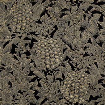 Schwarzer Jacquard-Stoff mit Ananasmuster