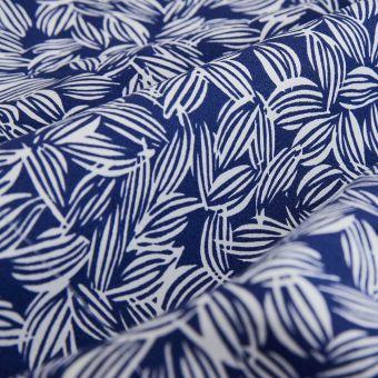 Bio Baumwollperkal Blätter blau