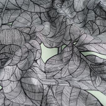 Köperstoff Baumwolle Blätter Blumen