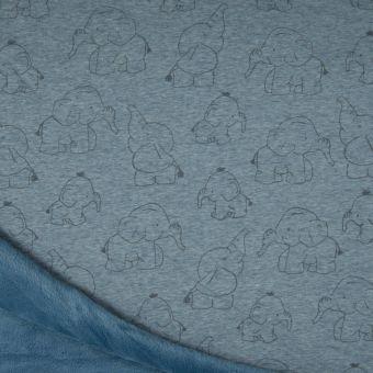 Sweatshirtstoff Alpfleece-Rückseite Elefant blau