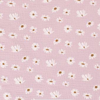 Doppelter Gaze-Baumwollstoff mit rosa Gänseblümchen
