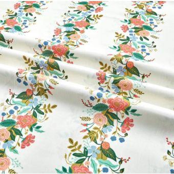 Dicker Baumwollstoff Blumenfluss elfenbein - Rifle Paper
