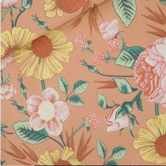 Sweatshirtstoff French Terry Kaffeecreme Blumen See You at Six